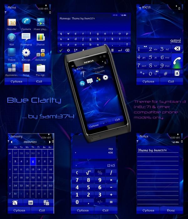 blue clarity symbian 3 mobiletheme