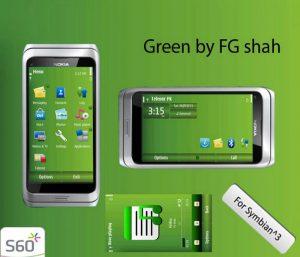 green symbian3 mobile theme