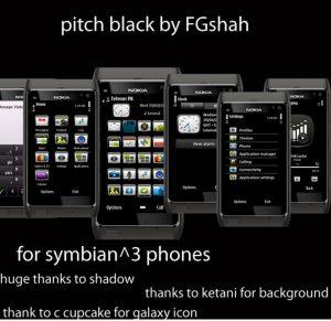 pitch black nokia n8, e7 mobile theme by fgshah