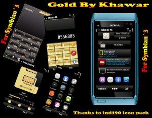 gold symbian3 mobile theme by khawar
