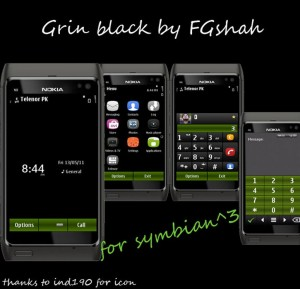 grin black symbian3 mobile theme