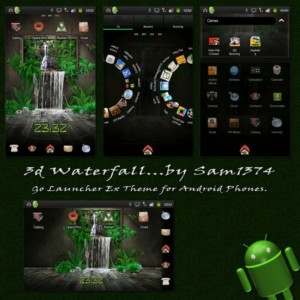 3d wallpaper waterfall theme