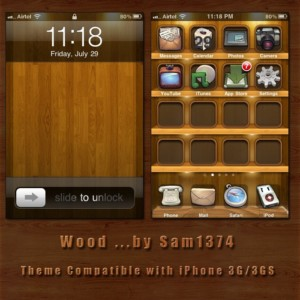 wooden theme for iphone by sam1374