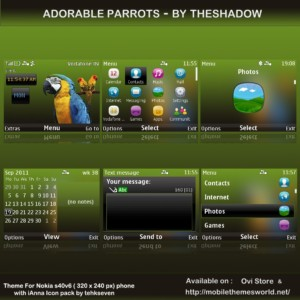 animated adorable parrots ianna icons theme