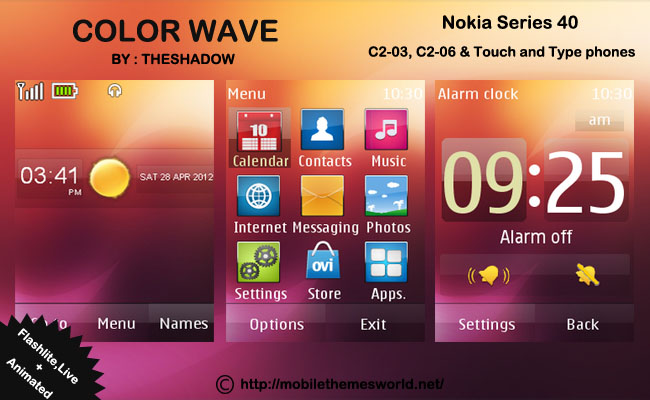 color wave nokia touch and type c2-03 phone theme by theshadow