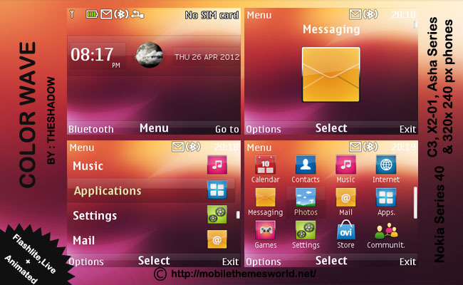 color wave live nokia c3, asha, x2-01 theme by shadow