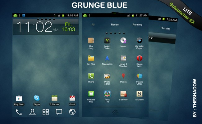 Go Launcher Ex  theme Grunge Blue Lite Android Theme by TheShadow