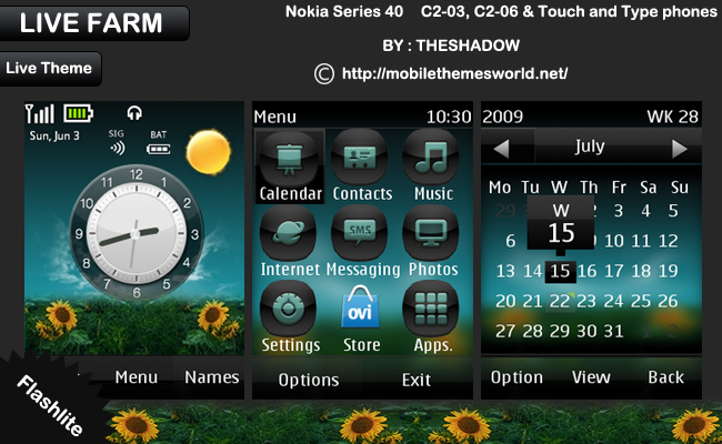 Live Farm Nokia Touch and Type Theme by TheShadow for asha 300, x3-02, c2-03, c2-06 phone