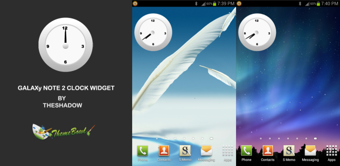galaxy Note 2 Live clock widget by themebowlapp