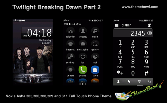 Twilight Breaking Dawn part 2 Nokia Asha Full Touch Phone Theme