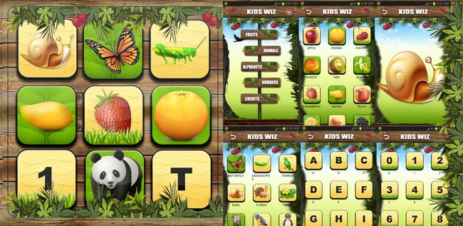 kids wiz android app animal book, fruit names, alphabets