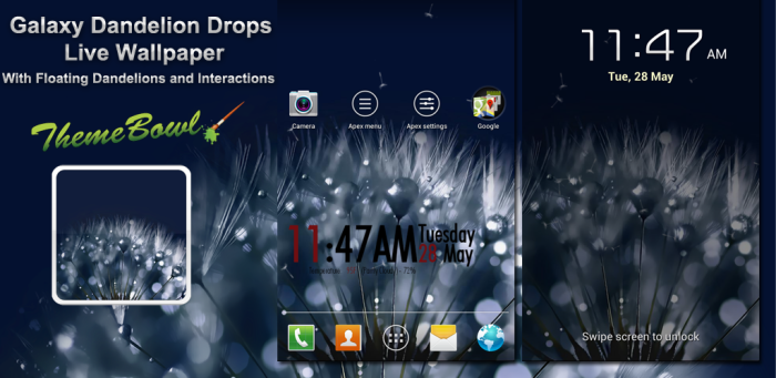 Galaxy Dandelion Drops S3/S4 Free Android Live Wallpaper