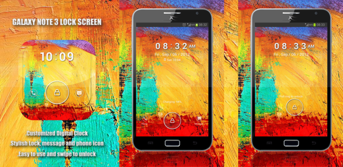 Galaxy Note 3 Lock Screen : Free Android GoLocker Theme